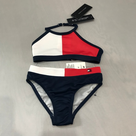 Tommy Hilfiger Girls 2 Pack Remix Bikini Brief Navy Blazer//White